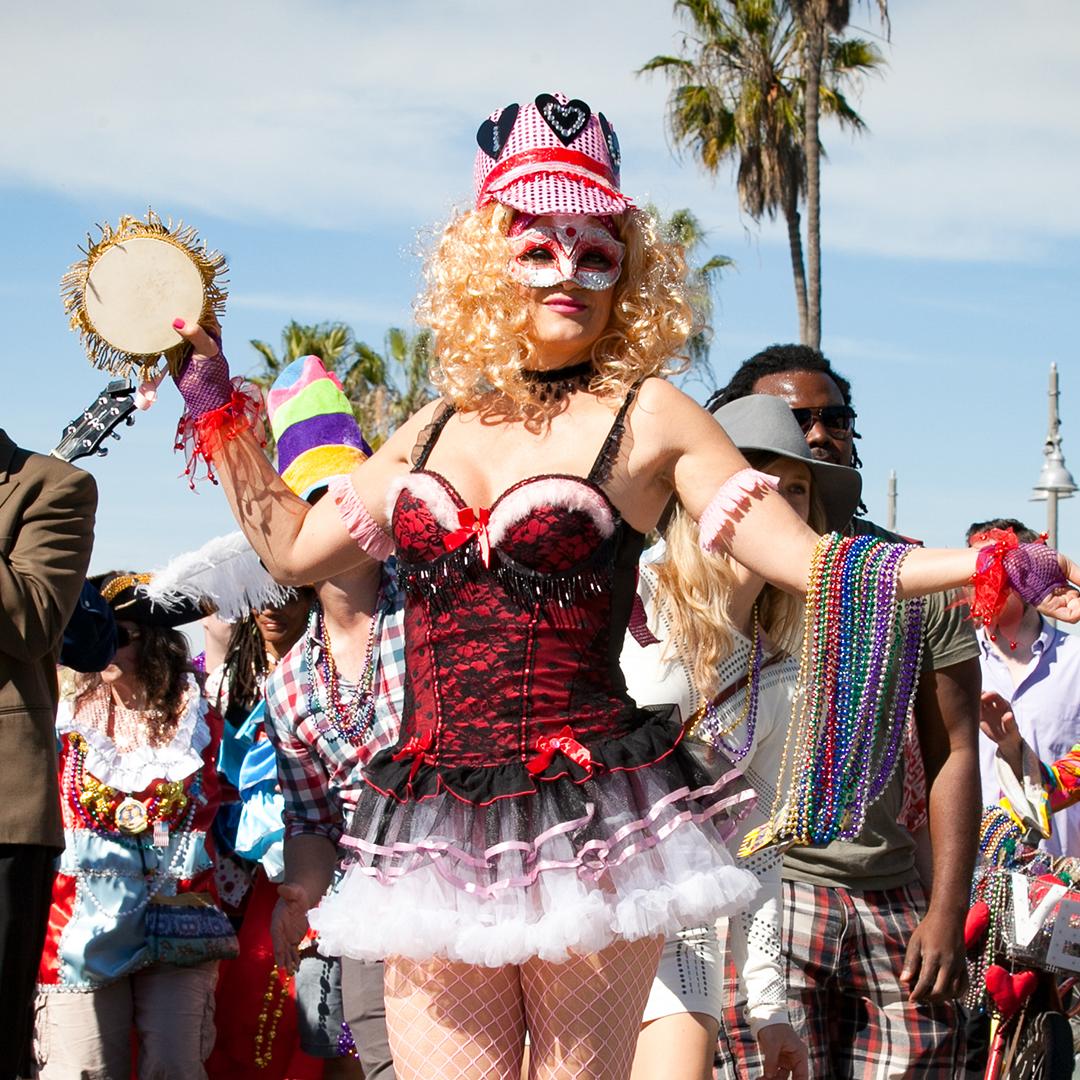 Woman in a Costume on Venice Boardwalk